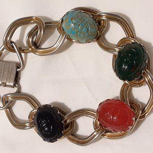 Vintage glass scaarb bracelet